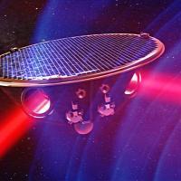 LISA - spacecraft passing gravitational waves